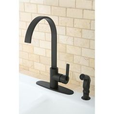 Buy the Kingston Brass Oil Rubbed Bronze Direct. Shop for the Kingston Brass Oil Rubbed Bronze Continental Kitchen Faucet with Deck Plate and Metal Lever Handle and Side Spray and save. Black Kitchen Faucets, Pull Out Kitchen Faucet, Kitchen Handles, Sink Faucets, Bronze Kitchen, Oil Rubbed Bronze Faucet, Continental, Kingston Brass, Plumbing Fixtures