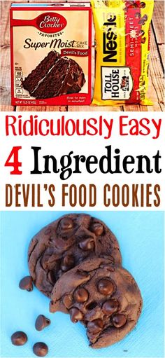 Devil's Food Cake Mix Cookies (Posts by DIY Thrill) Devils Food Fudge Cookies Cake Mix Recipe! Chocolate Avocado Brownies, Chocolate Cake Mixes, Chocolate Desserts, Chocolate Chips, Chocolate Fudge, Chocolate Cookies, Desserts For A Crowd, Great Desserts, Healthier Desserts
