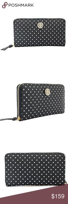 🆕Tory Burch Kerrington Polka Dot Wallet BRAND NEW WITH TAGS. Tory Burch Kerrington Zip Continental Wallet in Viva Dot Mini Black. Zip around wallet with 8 credit card pockets, 2 bill pockets and separate zippered compartment in middle. Signature TB gold plated hardware, durable grainy vinyl with leather zipper pulls. Tory Burch Bags Wallets