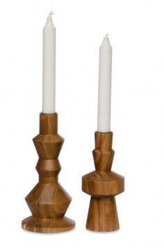 Wooden Candlesticks Set