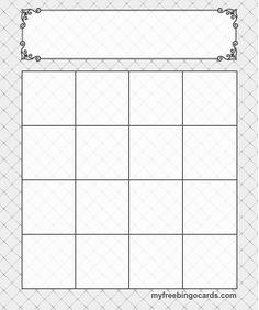 4x4 Bingo Template More
