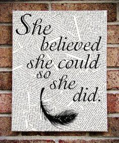 "Canvas Wall Art with Quotes | Quote Wall Art: ""She Believed She Could So She Did"" Canvas Art ..."