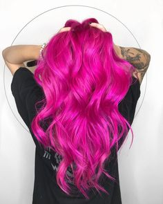 more pastel hair color ideas for you Hot Pink Hair, Hair Color Pink, Cool Hair Color, Purple Hair, Bright Pink Hair, Bright Coloured Hair, Colourful Hair, White Hair, Baby Pink Hair