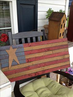Primitive star flag & mustard salt box house
