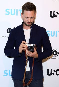 Adams Exhibition Opening of 'SUITS' Gallery at 402 West Street on January 2015 in New York City. Patrick J Adams, Leica Camera, Actors, Suits, Fictional Characters, Suit, Fantasy Characters, Wedding Suits, Actor