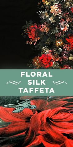 Black Silk Taffeta with Hand Painted and Lacquered Flowers #Floral #Italian #Glamorous