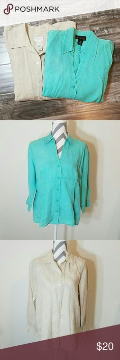 Linen Button Down Shirt Bundle Teal & natural color button down linen shirts. Each wore a few times. No stains or tears on teal shirt. One small tear on bottom back of natural color shirts hown in last pic. Small stain on natural shirt also, barely noticable. Natural shirt Liz Claiborne size M & teal shirt Style & Co size 14. Liz Claiborne Tops Button Down Shirts