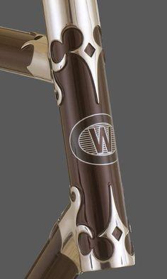 Hard carved bicycle lugs, Waterford Bicycles.
