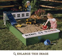 Sandbox with ramp and home for bulldozers