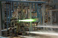 A 3D-printed rocket engine injector undergoes hot-fire testing at NASA's Marshall Space Flight Center in Alabama, during which it was exposed to temperatures of nearly 6,000 degrees Fahrenheit.