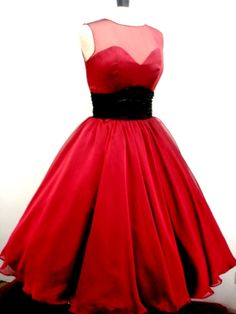 Sweet heart neckline 50s style dress made from ruby red chiffon, fully lined and made to order from Elegance 50s!