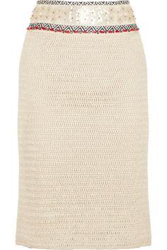Tory Burch|Donovan embellished crochet-knit linen pencil skirt