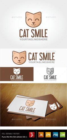 Cat Logo  (JPG Image, Vector EPS, AI Illustrator, CorelDRAW CDR, Resizable, CS, animals, cat, chocolate, cute, exasperated, happy, pets, smile, stylish, sweet, unique)