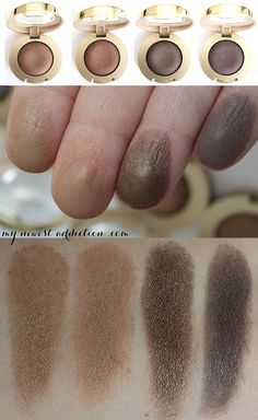 Swatches of the Milani Cosmetics Bella Gel Powder Eyeshadows