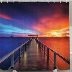 Waterproof Mouldproof Setting Sun Print Shower Curtain