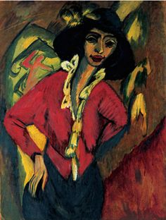 """expressionism-art: """" Gerda, Half-Length Portrait by Ernst Ludwig Kirchner via Guggenheim Museum Size: cm Medium: Oil on canvas Solomon R. Guggenheim Museum, New York Partial gift, Mr. Mortimer M. Ernst Ludwig Kirchner, Davos, George Grosz, Chaim Soutine, Museums In Nyc, Messy Art, Expressionist Artists, Max Ernst, Fashion Painting"""