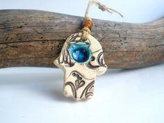 Ceramic Hamsa decoration Beautiful handmade brown by orlydesign