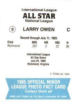 1985 TCMA International League All-Stars #9 Larry Owen Back