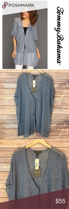 """NWT Tommy Bahama Poncho Cardigan NWT Tommy Bahama Poncho Cardigan. Size S/M. Perfect to wear on jeans, a dress or with shorts. Length 31"""". Tommy Bahama Sweaters Cardigans"""