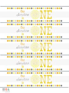 You Are My Sunshine Birthday Party Water Bottle Labels - Instant Download