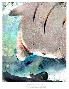 韩国插画师wonaland,她善于运用水彩来创作,插画作品也大多偏于儿童风格。