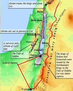 A map of the movements of King Chederlaomer's alliance as they marched down the King's Highway east of the Jordan, on their way to lay siege to Sodom and Gomorrah. From the Dead Sea, Chederlaomer turned north and marched through Canaan.