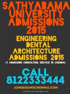 SATHYABAMA UNIVERSITY ADMISSIONS 2015  Sathyabama Engineering College SATHYABAMA university ADMISSION 2015 call 8122333444 SATHYABAMA ENGINEERING COLLEGE ADMISSIONS 2015 SATHYABAMA BDS ADMISSIONS SATHYABAMA ADMISSIONS 2015 SATHYABAMA UNIVERSITY BARCH http://admissionsinchennai.com/sathyabama_university_admission_2013 sathyabama university admissions 2015 sathyabama university chennai