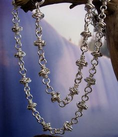 Solid Sterling Silver Chain Necklace, Handmade Silver Jewelry, Knot Chain, Chainmaille, Wire Wrapped