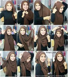 Wearing headband with hijab