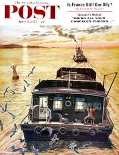 Saturday Evening Post - 1957-04-06: Barges (Ben Kimberly Prins)