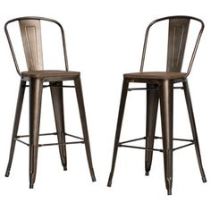 Tabouret Bistro Wood Seat Gunmetal Finish Bar Stools (Set of 2) | Overstock.com Shopping - The Best Deals on Bar Stools