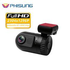 """미니 0805 Ambarella A7 칩 HD 1296 마력 자동차 DVR 대시 카메라 1.5 """"WDR 야간 자동 Registrator 비디오 레코더 dashcam w/GPS 로그"""