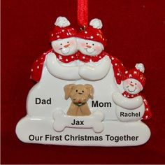 Our First Christmas as a Family plus Tan Dog Christmas Ornament Our First Christmas Ornament, Christmas Gift Decorations, Christmas Dog, Christmas Tree Ornaments, Holiday Crafts, Personalized Family Ornaments, Baby Ornaments, How To Make Ornaments, Polymer Clay Christmas