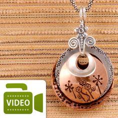 Layered collage pendant