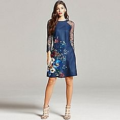 Little Mistress - Navy floral print and lace sleeve dress