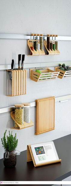 Wall Ledges for Wooden Kitchen Accessories - Tap the link to shop on our officia. - Wall Ledges for Wooden Kitchen Accessories – Tap the link to shop on our official online store! Small Kitchen Organization, Small Kitchen Storage, Home Organization, Small Storage, Creative Storage, Garage Storage, Ikea Small Kitchen, Kitchen Organizers, Organized Kitchen