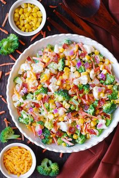 Creamy Broccoli, Cauliflower, Corn, Bacon Salad with Carrots, Red Onions, and Cheddar Cheese