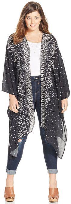 Plus Size Printed Maxi Kimono Cardigan