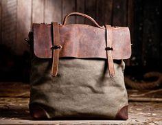 Army-green Canvas-Leather Tote/ Canvas bag/Shoulder Bag/ Woman bag/ Leather Satchel/ Single shoulder bag. $68.50, via Etsy.