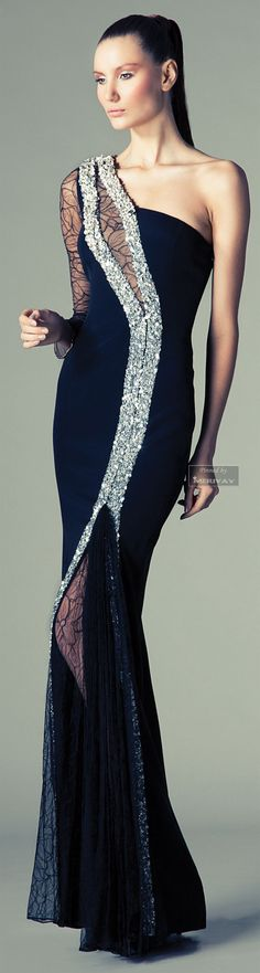 Rani Zakhem. Love the look of the bling on it & incorporating the sheer fabric into the skirt as well