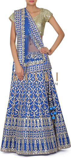 Buy this Royal blue lehenga adorn in gotta patch embroidery only on Kalki