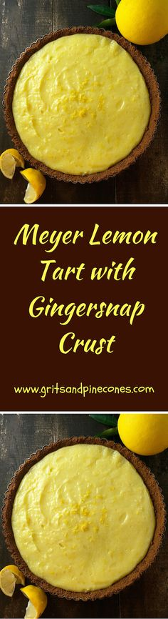 One bite of this luscious, Meyer Lemon Tart with its crunchy gingersnap crust will have your taste buds singing the Hallelujah chorus!  via @http://www.pinterest.com/gritspinecones/
