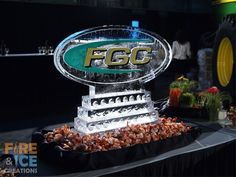 Colored logo ice sculpture for the farm and garden centre