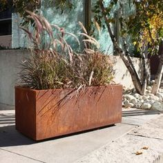 Veradek Metallic Series Long Box Planter - Corten Steel - Planters at Hayneedle Corten Steel Planters, Metal Planters, Modern Planters, Outdoor Planters, Planter Pots, Long Planter, Planter Ideas, Planter Garden, Concrete Planter Boxes