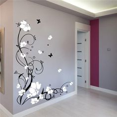 J3 Large Butterfly Vine Flower Vinyl Removable Art Wall Stickers Tree Wall Decals Mural for Living room Bedroom Home Decor - best seller cheap good quality