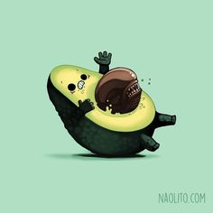 Today we& stepping into the funny and unconventional illustration world of Nacho Diaz (previously here). This Spain-based artist enjoys putting everyday things into bizarre situations, perfectly creating humorous double entendres. Cartoon Kunst, Cartoon Art, Cute Cartoon, Alien Film, Alien Art, Art Mignon, Cute Avocado, Funny Illustration, Cartoon Illustrations
