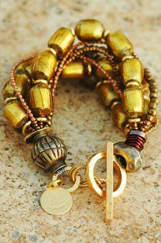 Artisan Glass, Bronze and Copper Multi-Strand Venetian Gold Bracelet Gold Rings Jewelry, Statement Jewelry, Beaded Jewelry, Beaded Bracelets, Statement Bracelets, Diamond Bracelets, Boho Jewelry, Jewelry Box, Jewlery