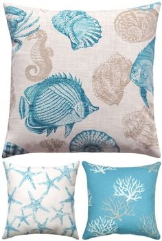 Bring on the blues with fabulous coastal pillows. Here are some favorite picks of blue coastal beachy pillows from affiliated online stores. Beach Cottage Style, Beach Cottage Decor, Coastal Style, Coastal Decor, Throw Pillow Covers, Throw Pillows, Nautical Pillows, Old Pillows, Cricut