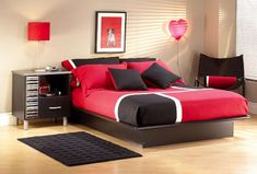 Contemporary Red Black Teenage Bedroom Furniture Sets for Chic