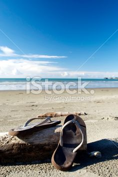Jandals on Beach Royalty Free Stock Photo